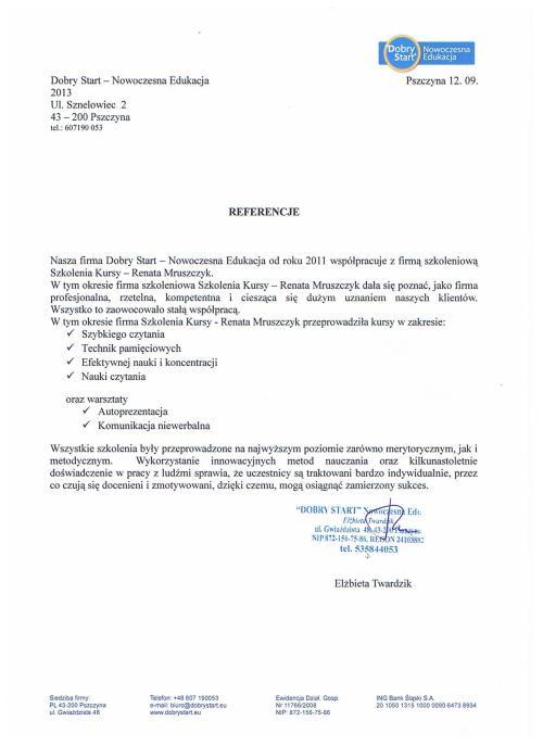 Referencje Renata Mruszczyk
